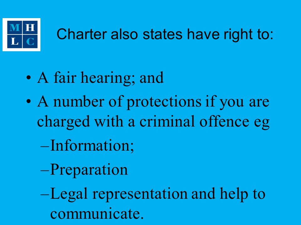 Charter also states have right to: