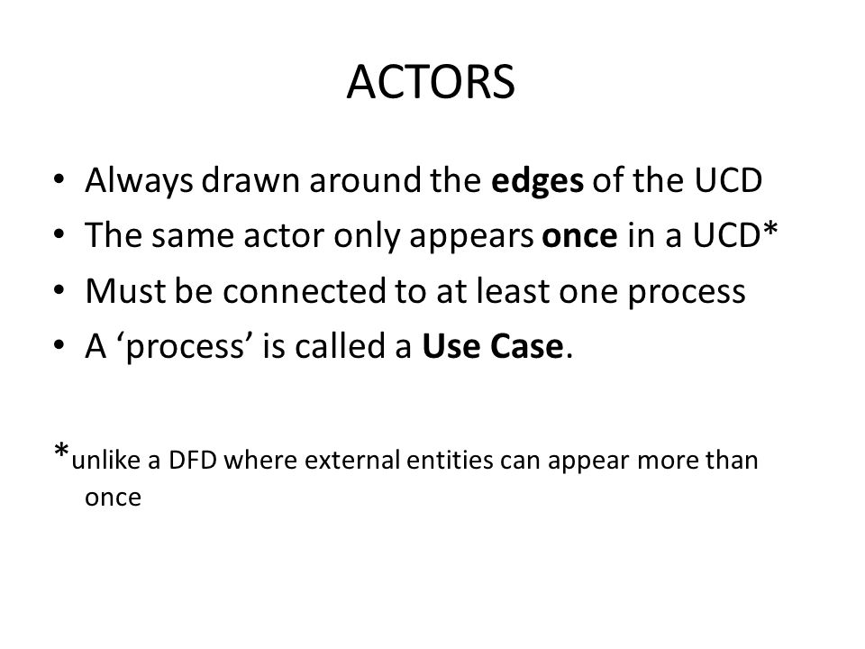 ACTORS Always drawn around the edges of the UCD