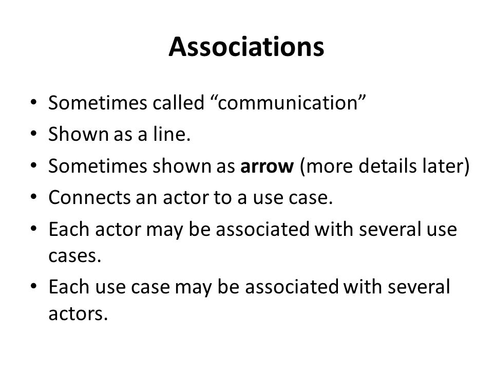 Associations Sometimes called communication Shown as a line.