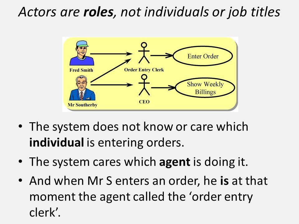 Actors are roles, not individuals or job titles