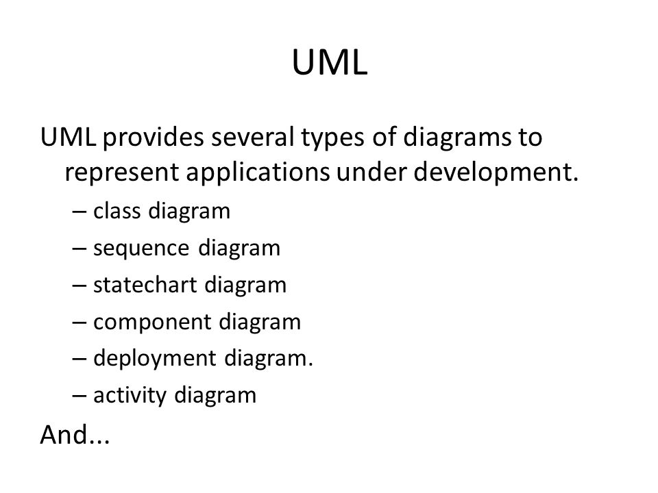 UML UML provides several types of diagrams to represent applications under development. class diagram.