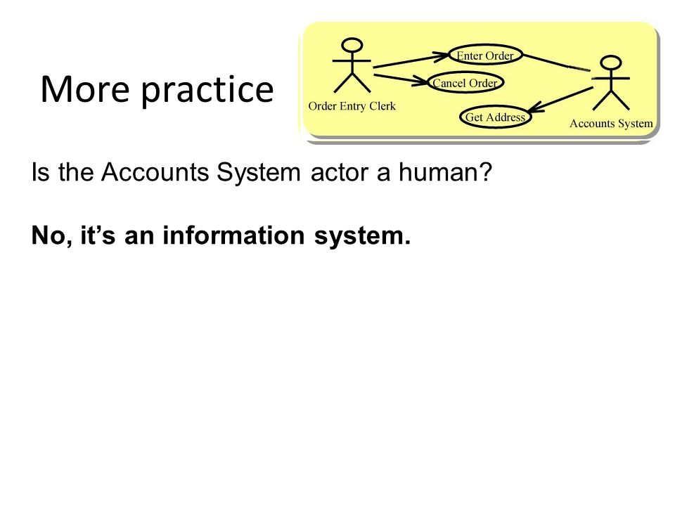 More practice Is the Accounts System actor a human