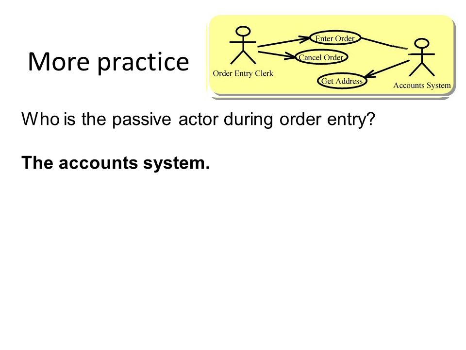 More practice Who is the passive actor during order entry