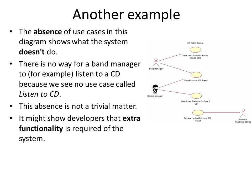 Another example The absence of use cases in this diagram shows what the system doesn t do.