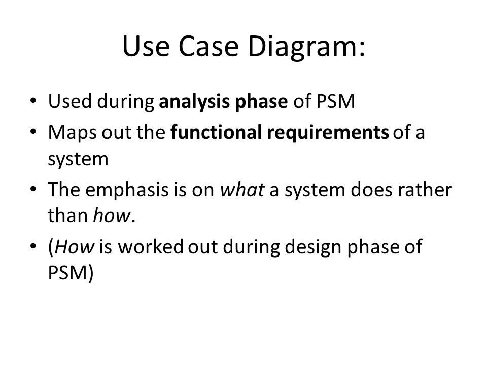 Use Case Diagram: Used during analysis phase of PSM