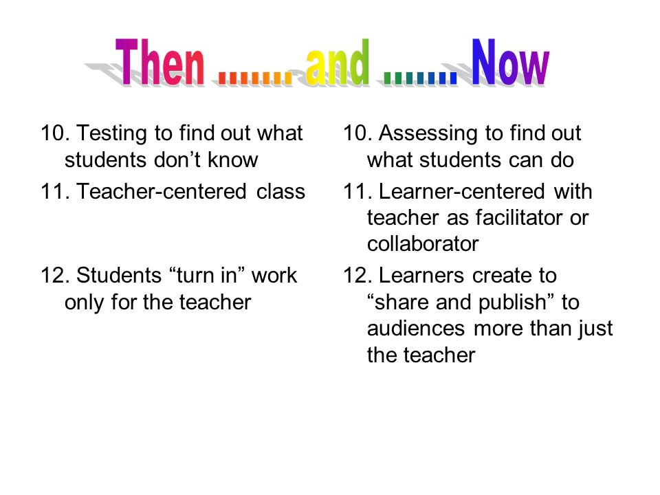 Then ....... and ....... Now 10. Testing to find out what students don't know. 11. Teacher-centered class.