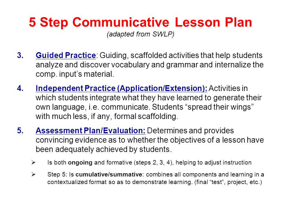 5 Step Communicative Lesson Plan (adapted from SWLP)
