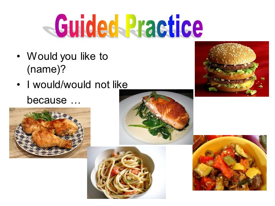 Guided Practice Would you like to (name) I would/would not like