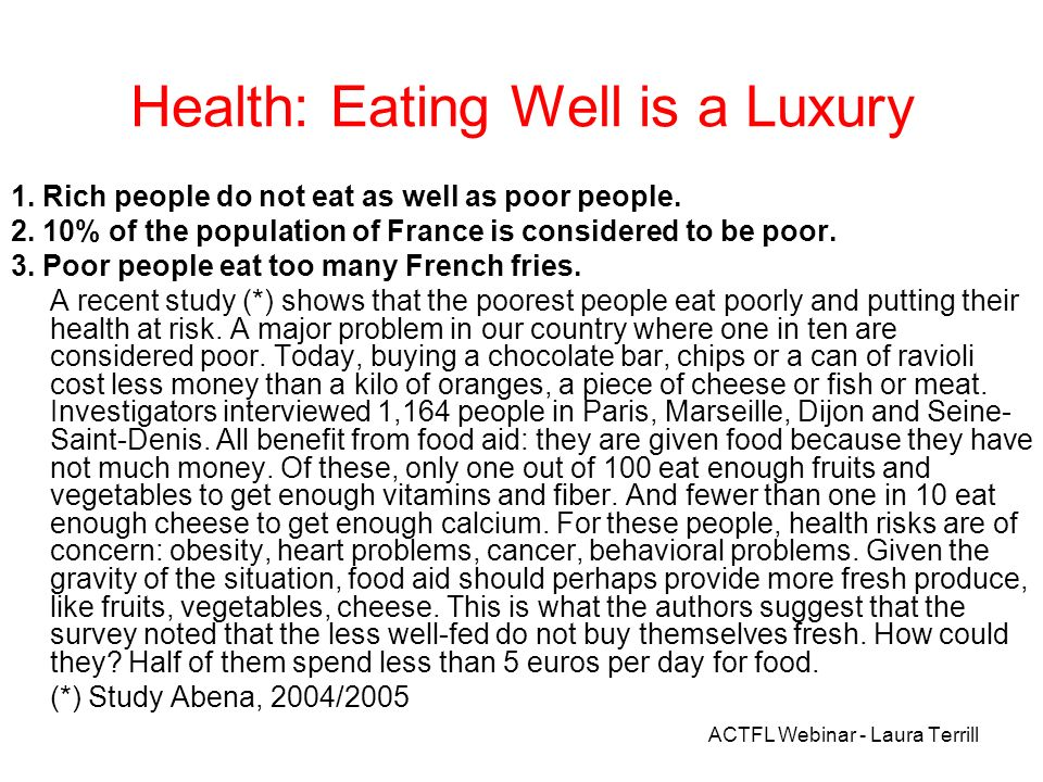 Health: Eating Well is a Luxury