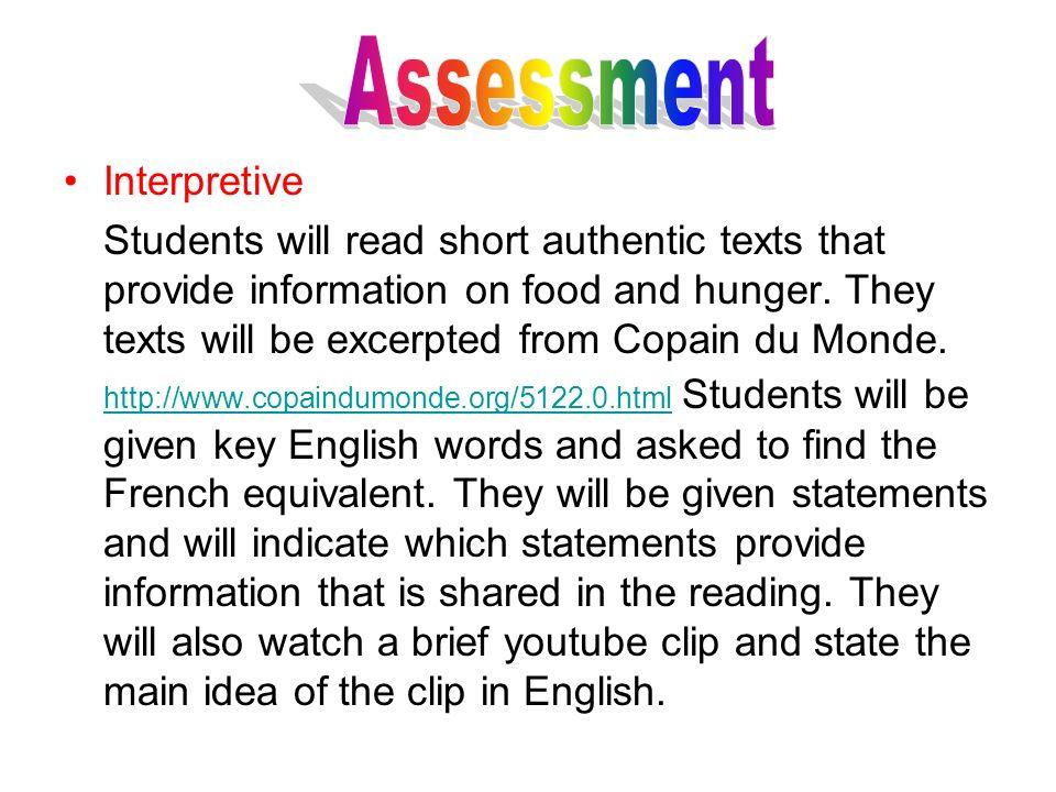 Assessment Interpretive