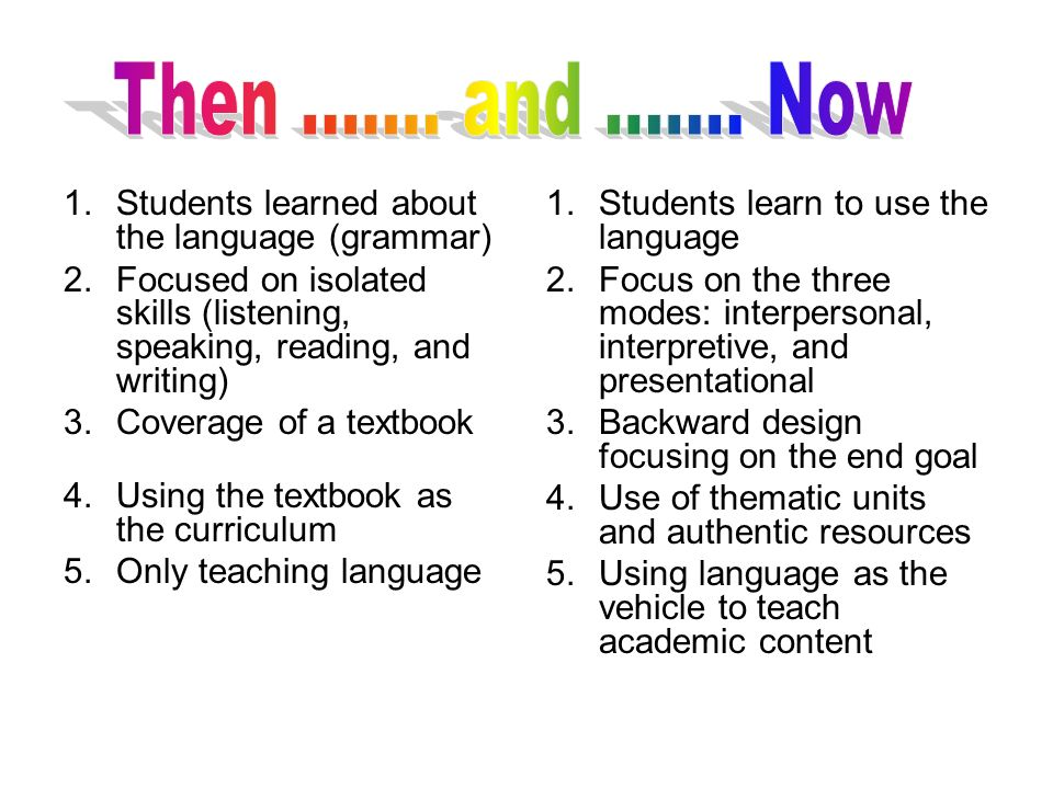 Then ....... and ....... Now Students learned about the language (grammar) Focused on isolated skills (listening, speaking, reading, and writing)