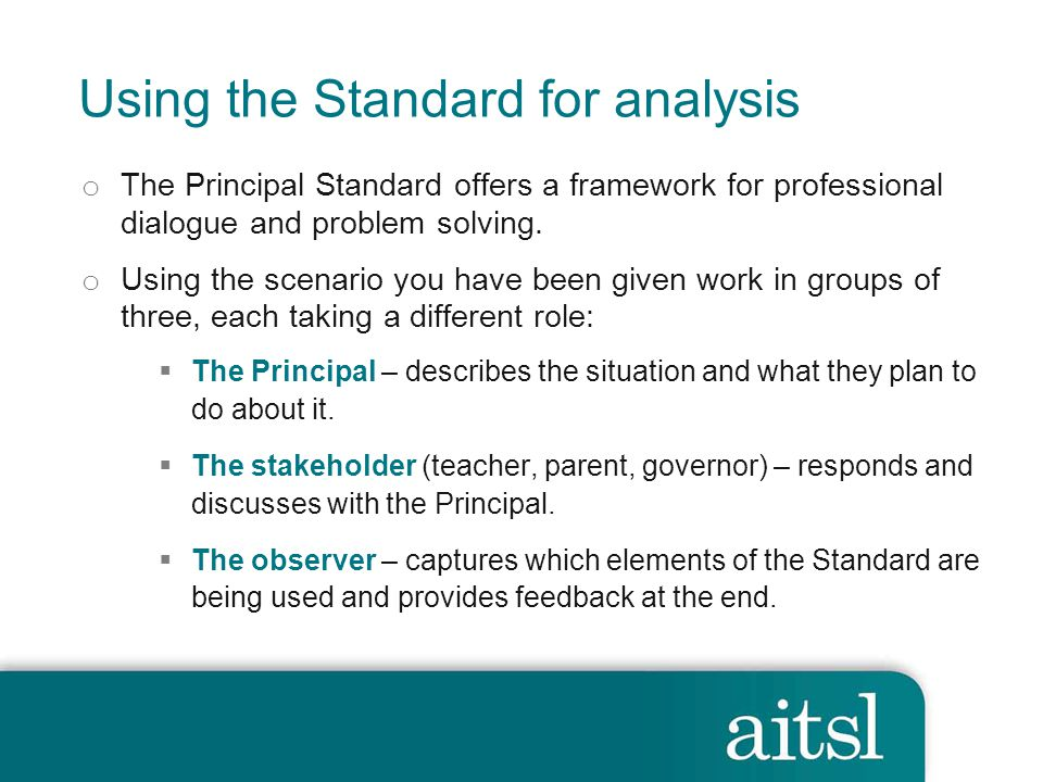 Using the Standard for analysis