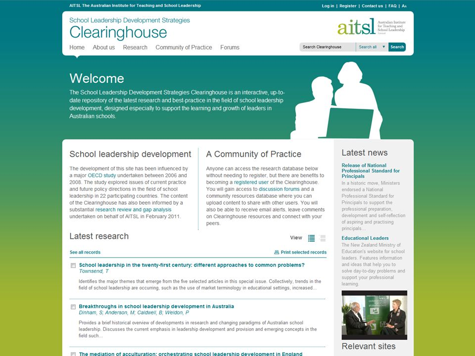 Screengrab of Clearinghouse