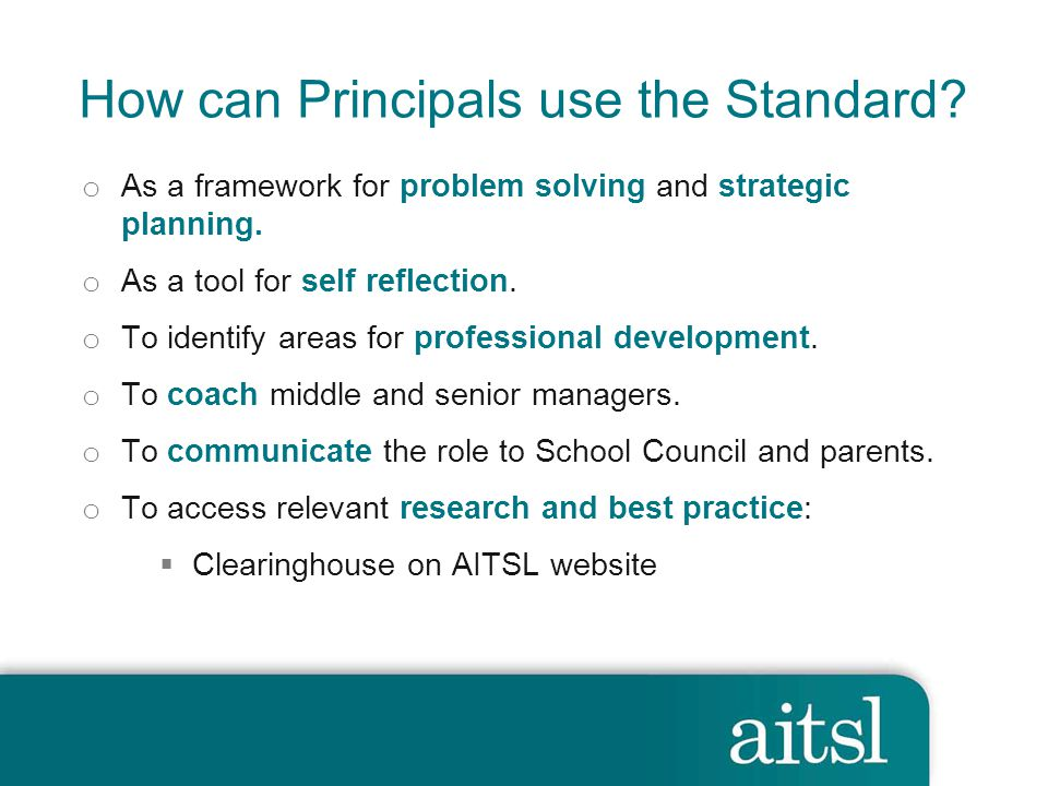 How can Principals use the Standard