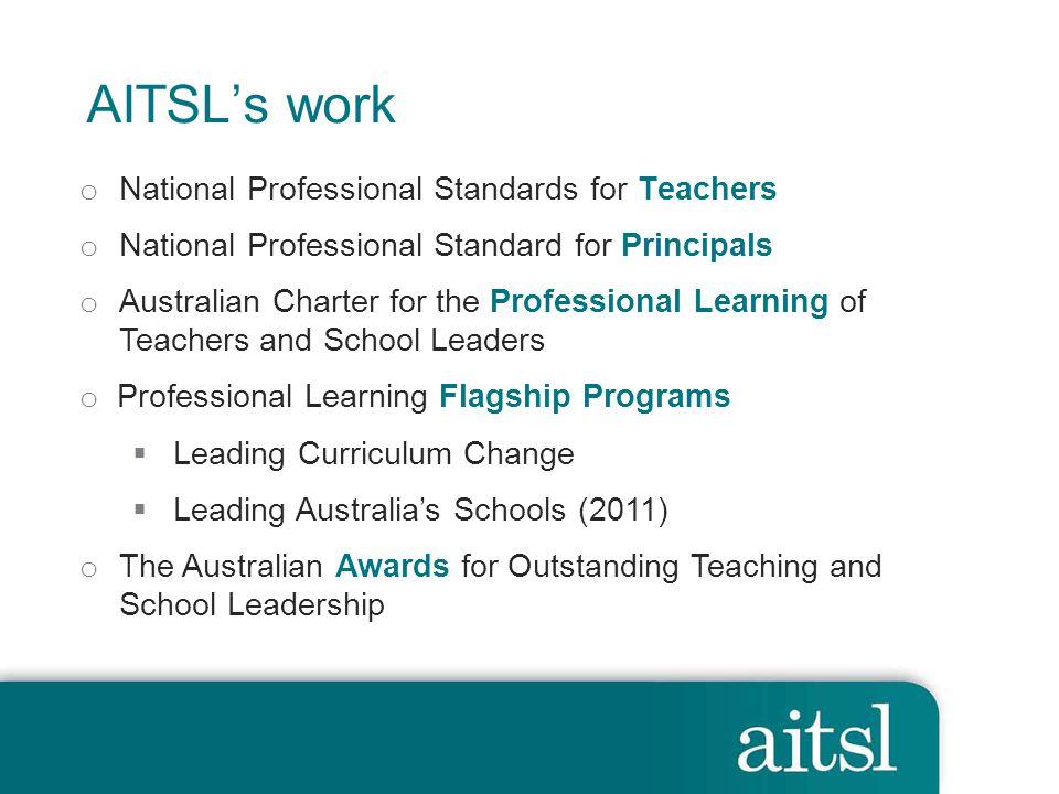 AITSL's work National Professional Standards for Teachers