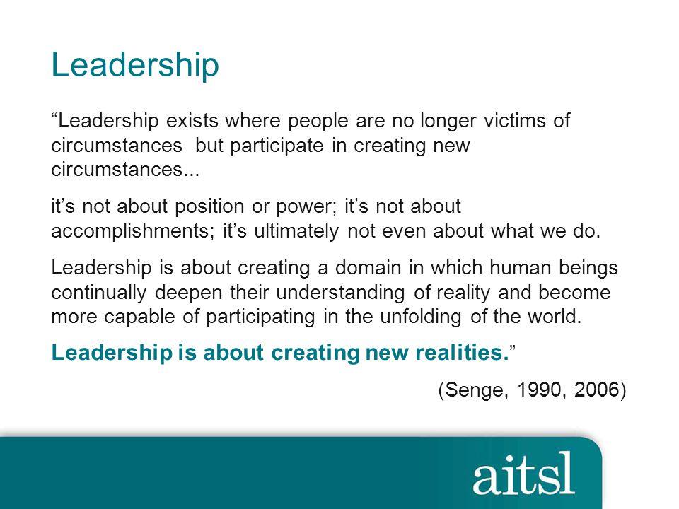 Leadership Leadership is about creating new realities.