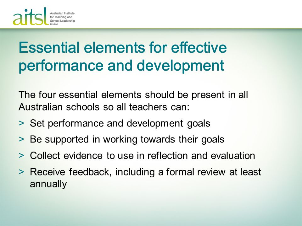 Essential elements for effective performance and development