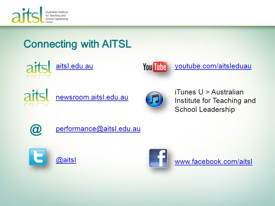 @ Connecting with AITSL