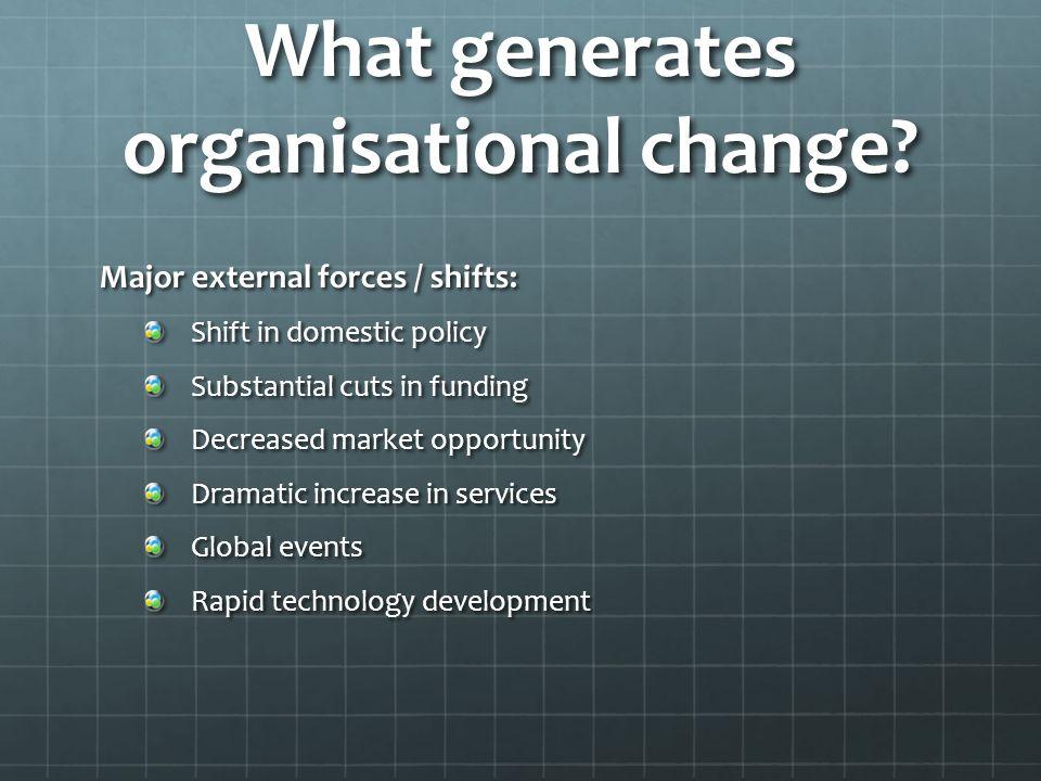What generates organisational change