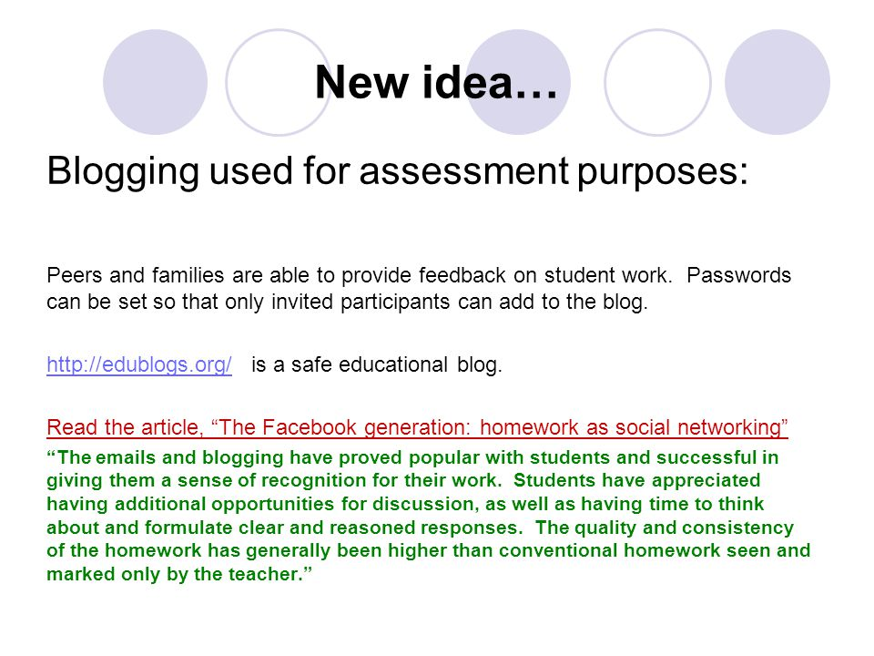 New idea… Blogging used for assessment purposes: