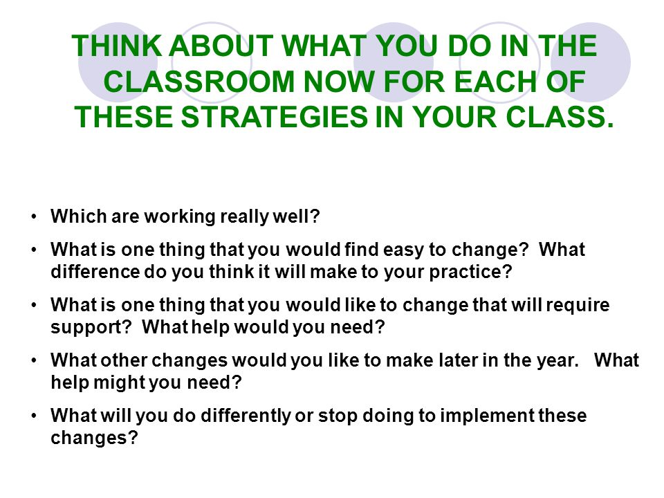 THINK ABOUT WHAT YOU DO IN THE CLASSROOM NOW FOR EACH OF THESE STRATEGIES IN YOUR CLASS.