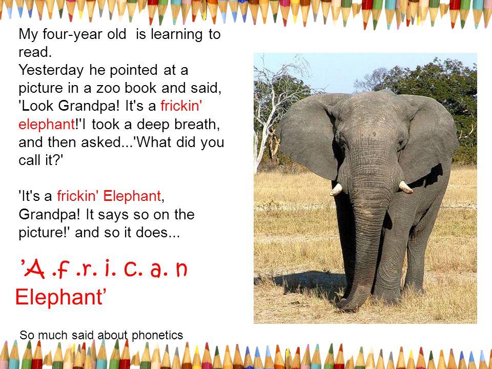 'A .f .r. i. c. a. n Elephant' So much said about phonetics