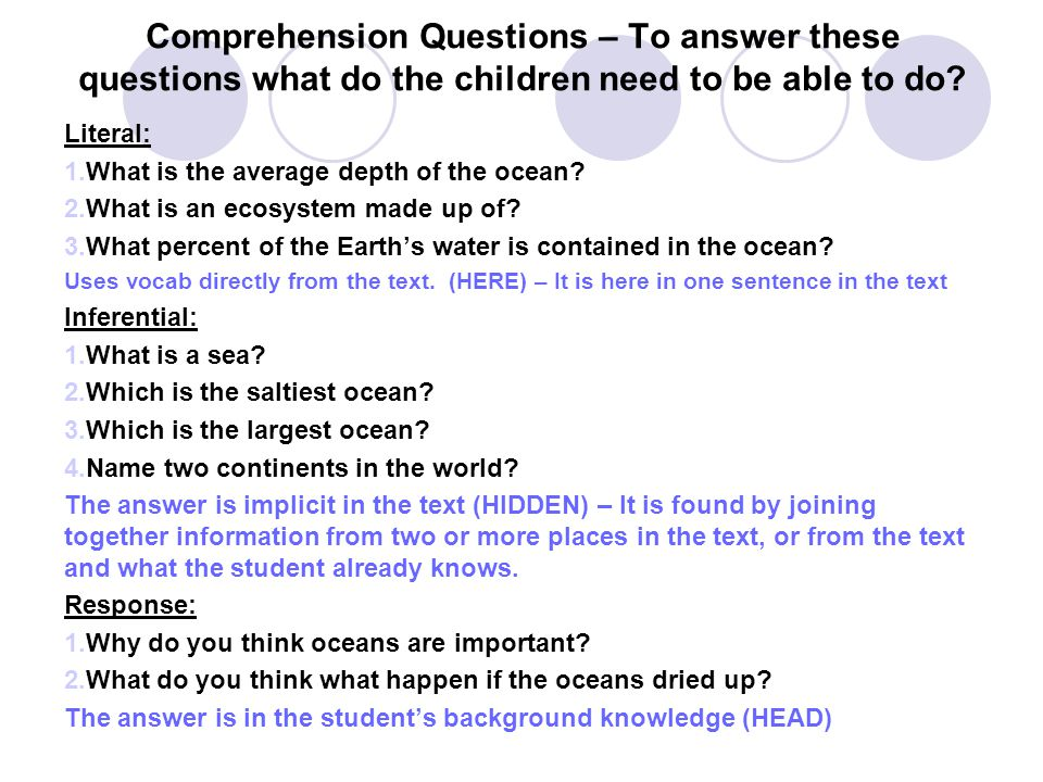 Comprehension Questions – To answer these questions what do the children need to be able to do