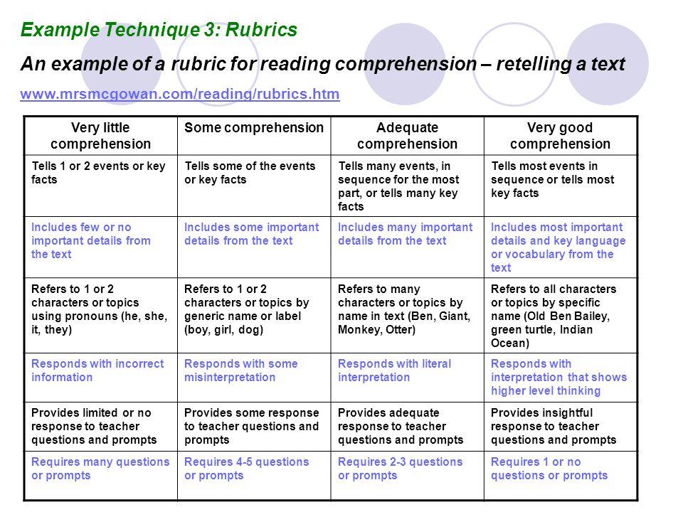 Example Technique 3: Rubrics