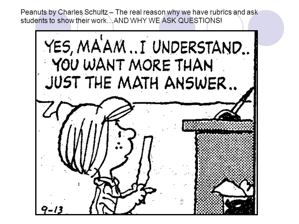 Peanuts by Charles Schultz – The real reason why we have rubrics and ask students to show their work…AND WHY WE ASK QUESTIONS!
