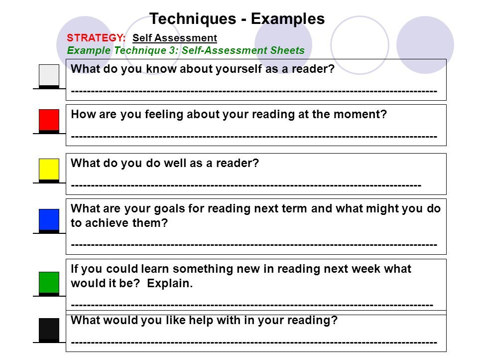 Techniques - Examples What do you know about yourself as a reader