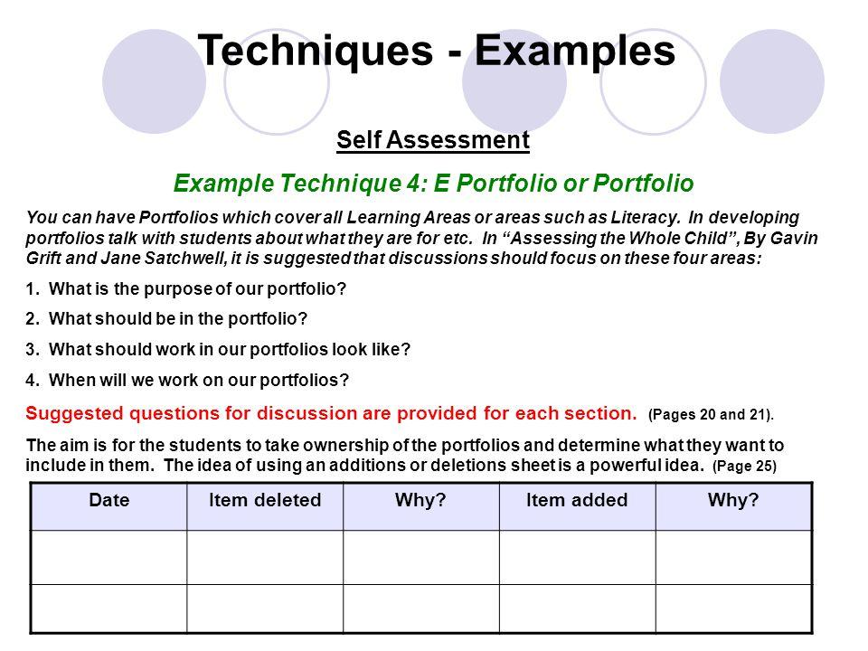Example Technique 4: E Portfolio or Portfolio