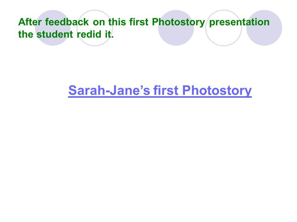 Sarah-Jane's first Photostory
