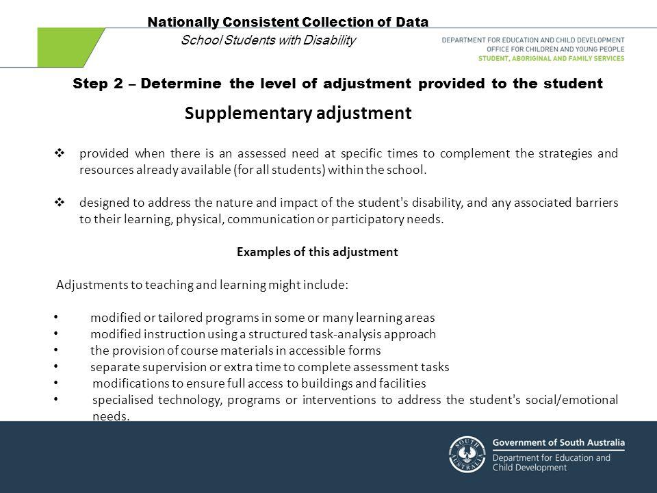 Supplementary adjustment