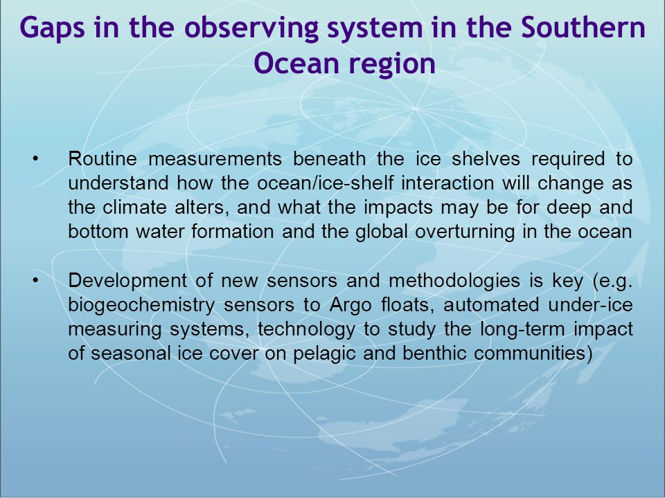 Gaps in the observing system in the Southern Ocean region