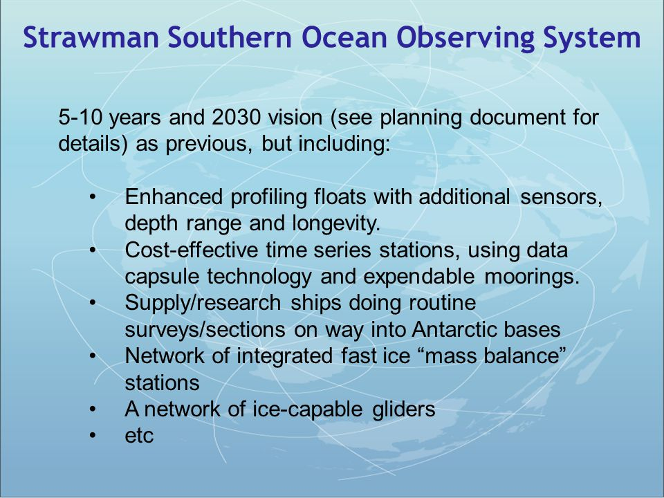 Strawman Southern Ocean Observing System