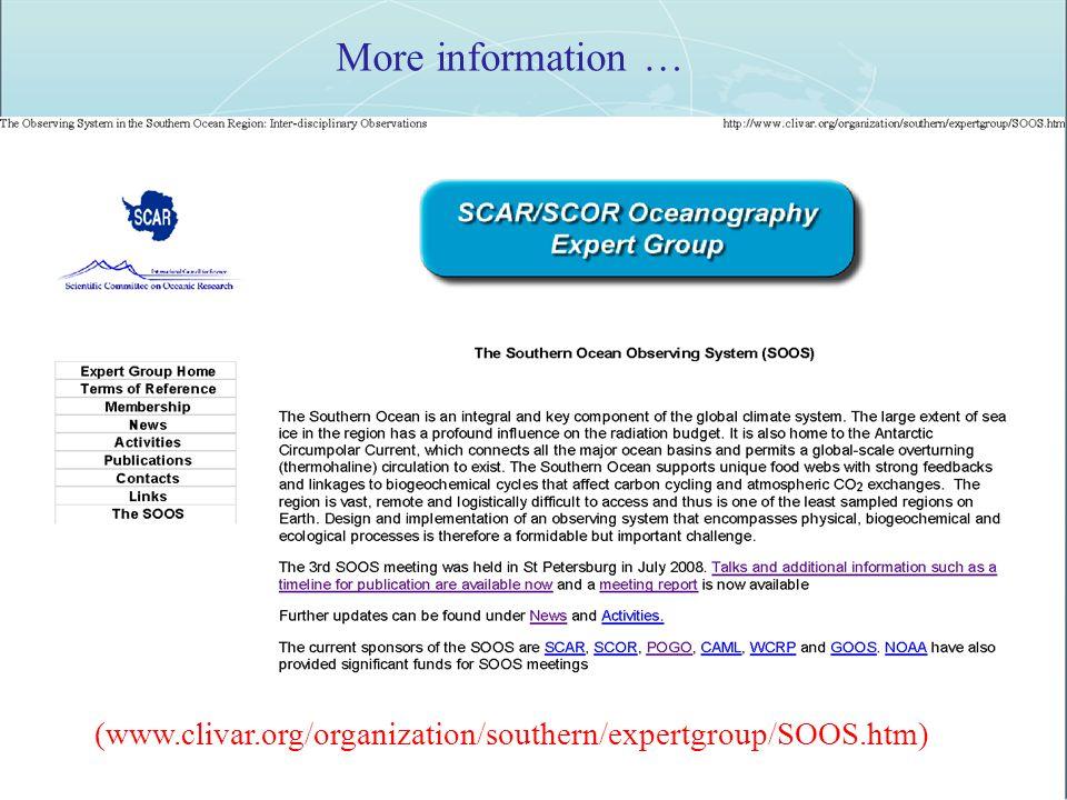 More information … (www.clivar.org/organization/southern/expertgroup/SOOS.htm)