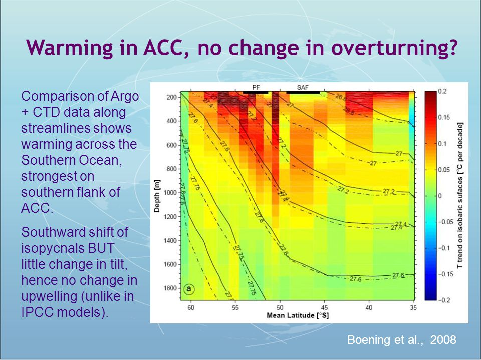 Warming in ACC, no change in overturning