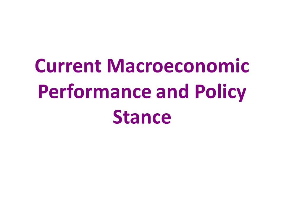 Current Macroeconomic Performance and Policy Stance