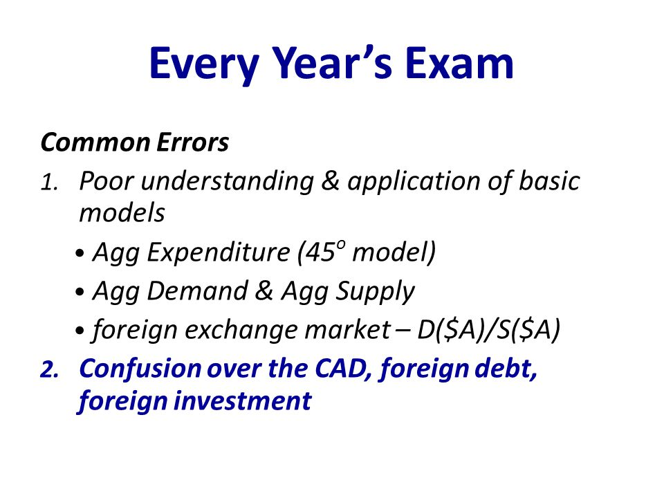 Every Year's Exam Common Errors