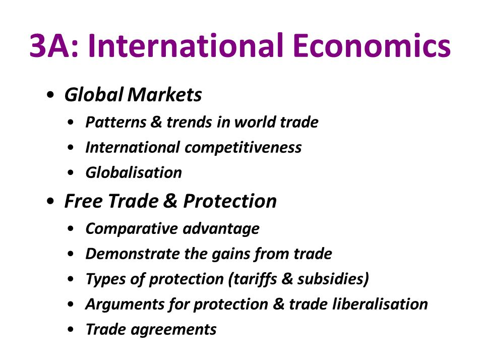 3A: International Economics