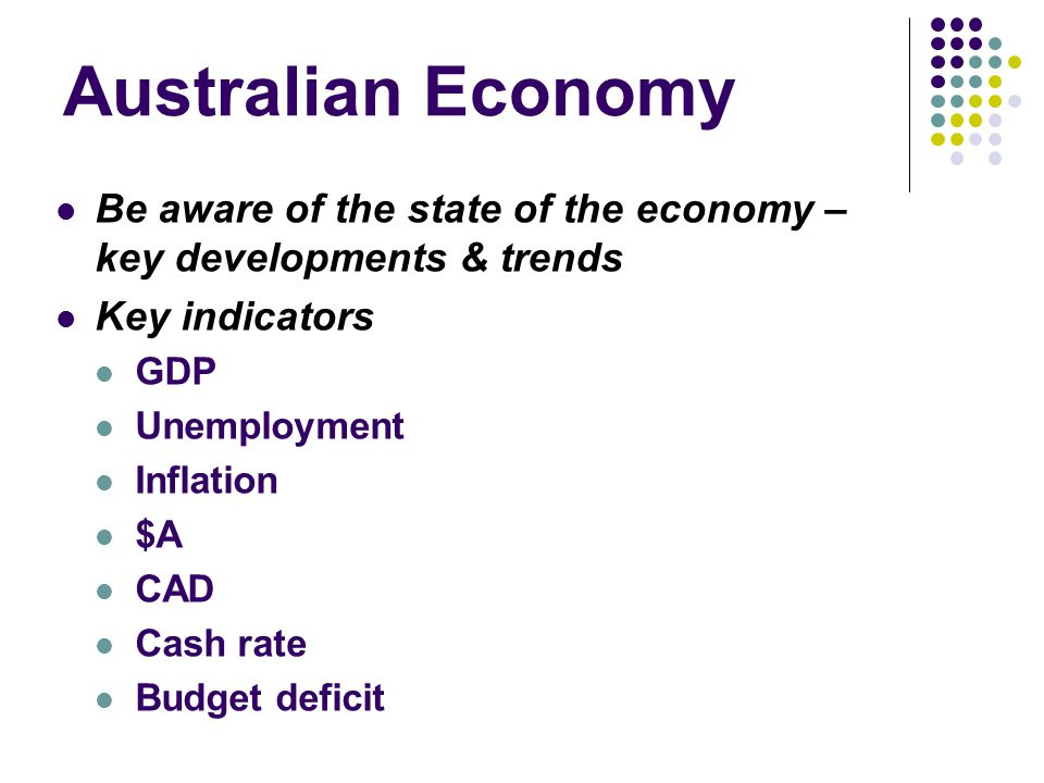 Australian Economy Be aware of the state of the economy – key developments & trends. Key indicators.