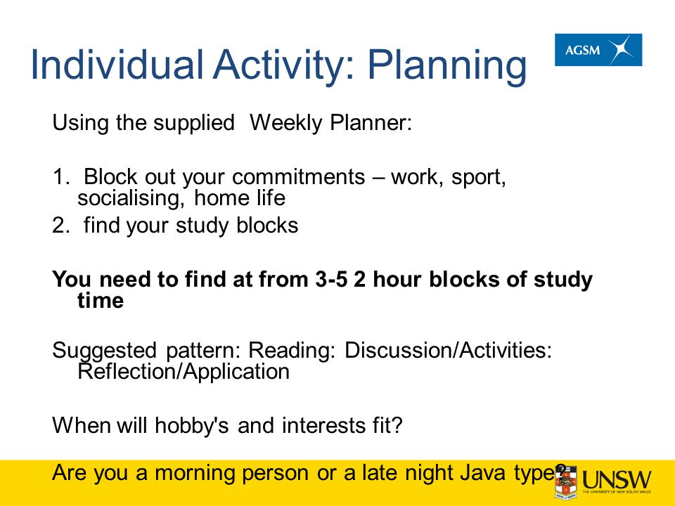 Individual Activity: Planning