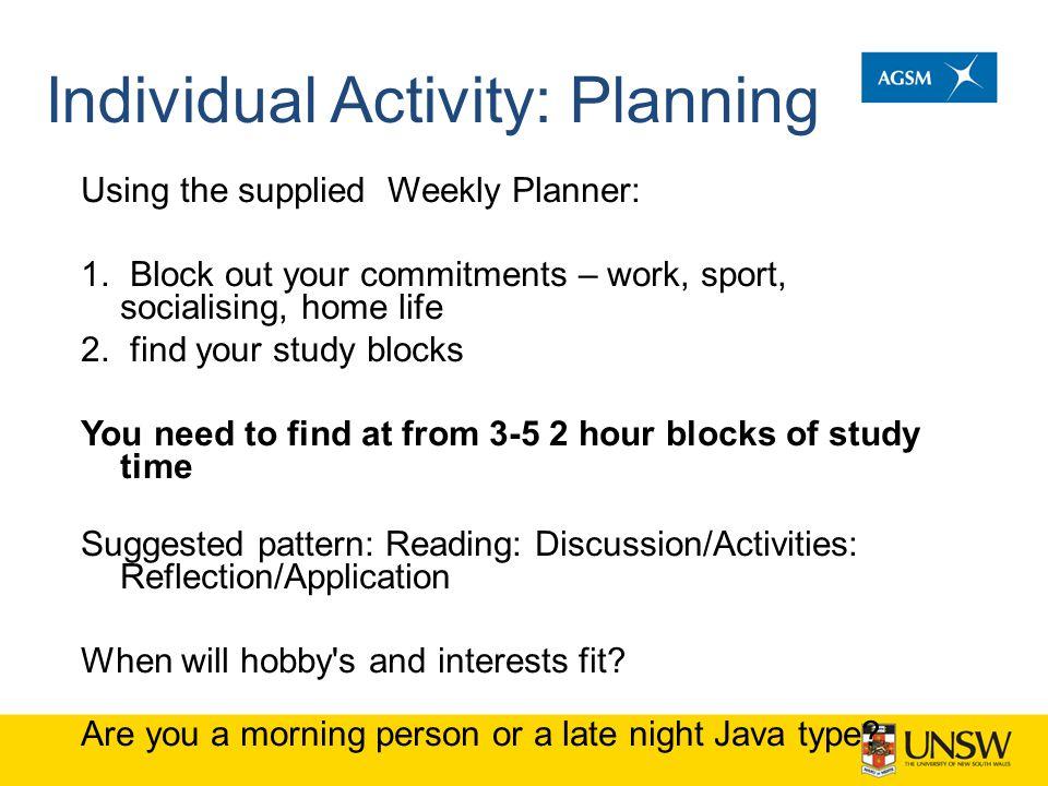 Individual Activity: Planning
