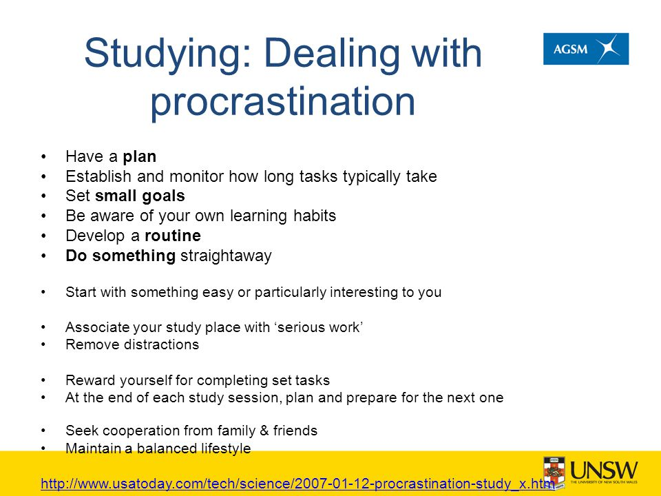 Studying: Dealing with procrastination