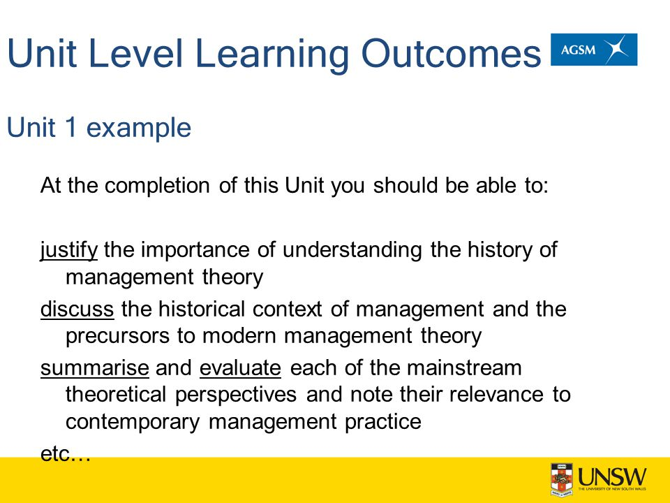 Unit Level Learning Outcomes Unit 1 example