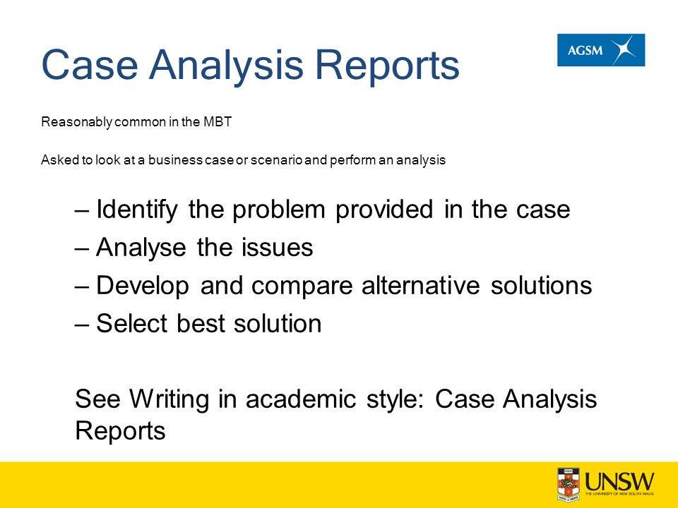 Case Analysis Reports Identify the problem provided in the case