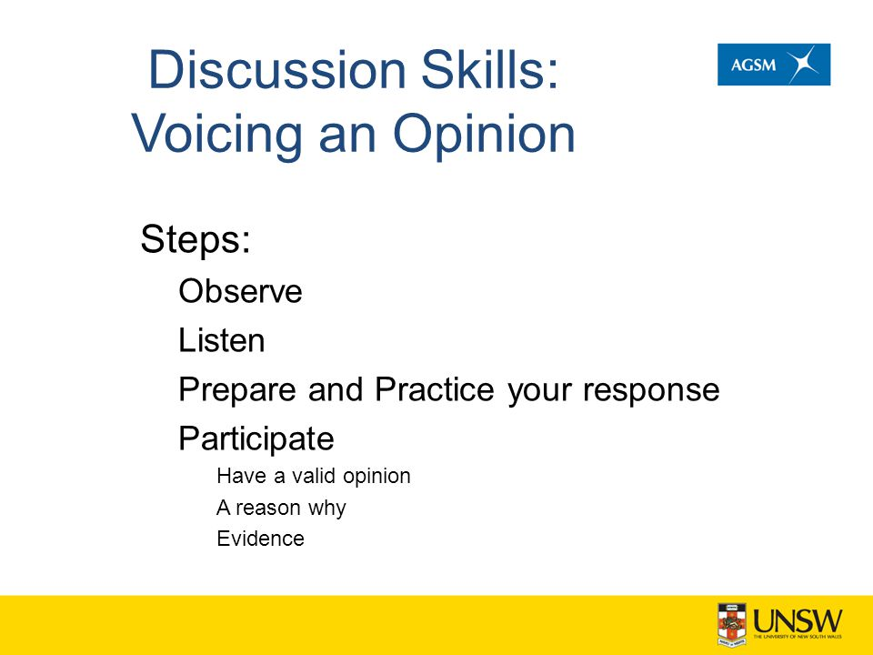 Discussion Skills: Voicing an Opinion