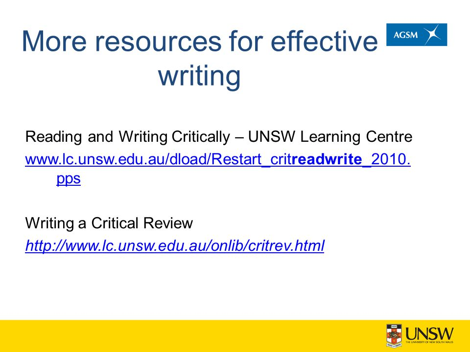 More resources for effective writing