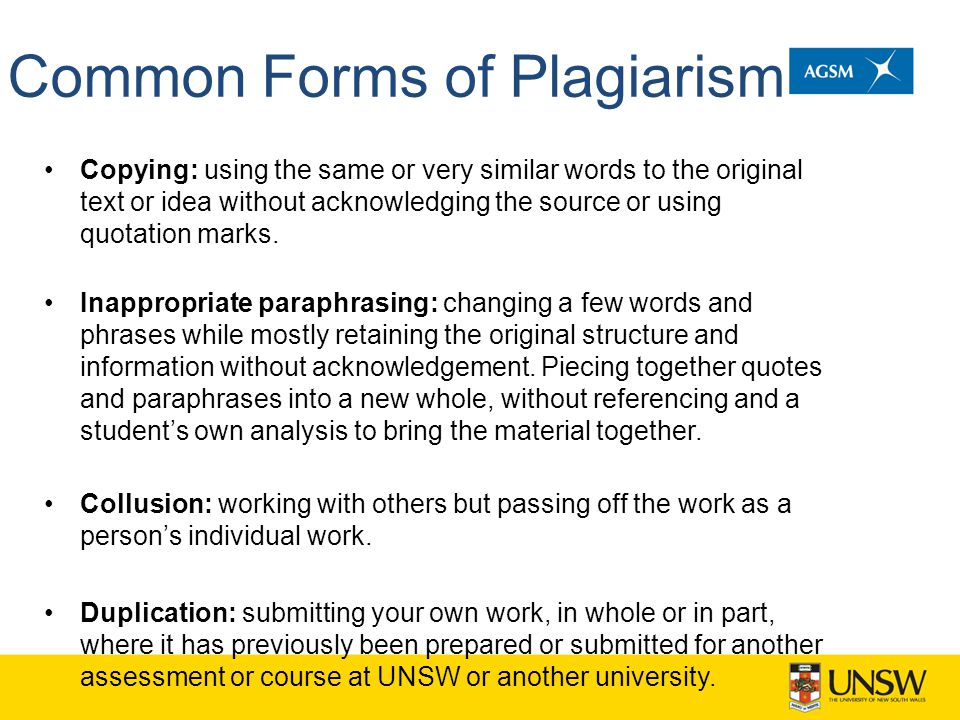 Common Forms of Plagiarism