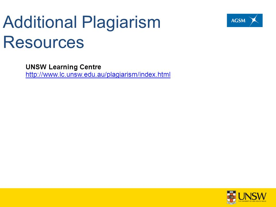 Additional Plagiarism Resources